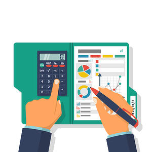 Businessman Holding a Pen With Calculator and Financial Tables
